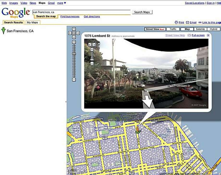 Google Inc. added 360-degree views of streets and intersections to its online maps, giving users more detailed pictures of New York, Las Vegas, Denver, Miami, and San Francisco. the images show the buildings and layout of selected streets, Google said Tuesday. Google employees collected the pictures in the past year by driving around with a camera to take the panoramic images.  This is a view of the crooked portion of Lombard Street in San Francisco. Photo: Google