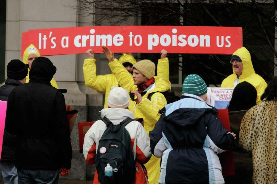 Daniel Morrissey of Latham leads anti-fracking demonstrators organized by Occupy Albany protest in front of the DEC building in Albany,NY Thursday, Jan.12, 2012. ( Michael P. Farrell/Times Union)