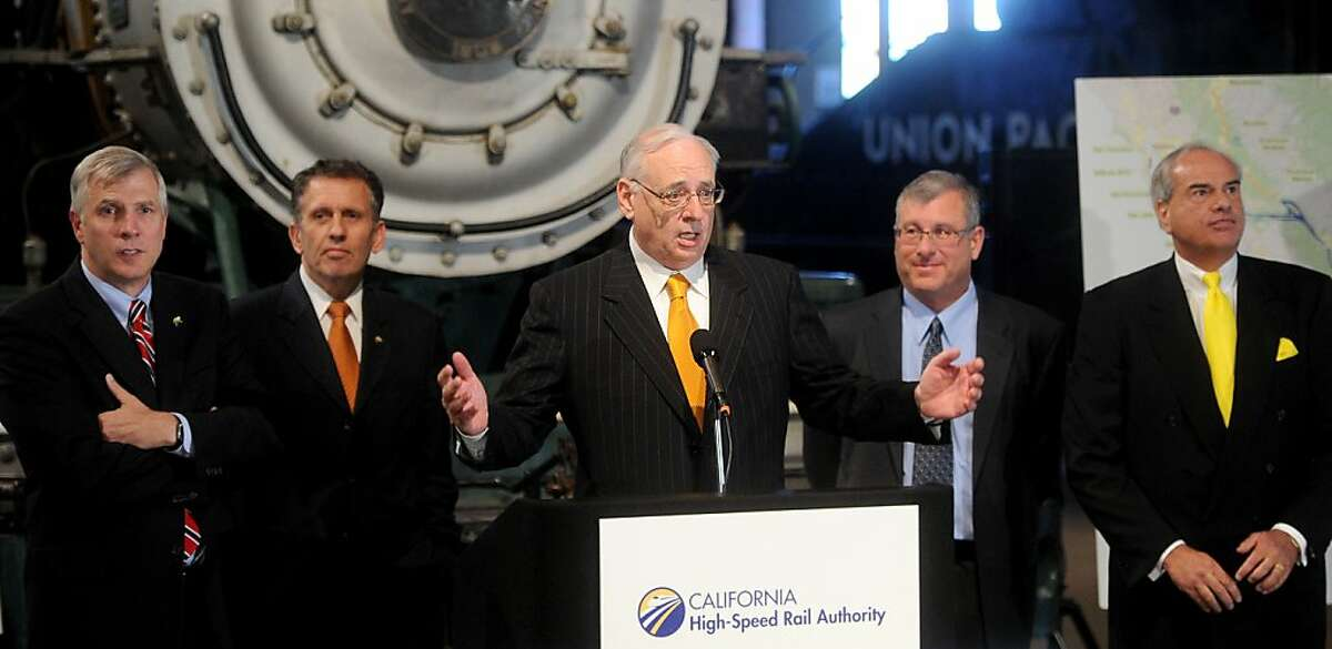 California High Speed Rail Authority boardmember Dan Richard fields questions during a news conference on Tuesday, Nov. 1, 2011, at the Sacramento, Calif., California State Railroad Museum. From left to right are California High Speed Rail Authority chairperson Thomas Umberg, CEO Roelof van Ark, Richard, boardmember Jim Hartnett and boardmember Michael Rossi.