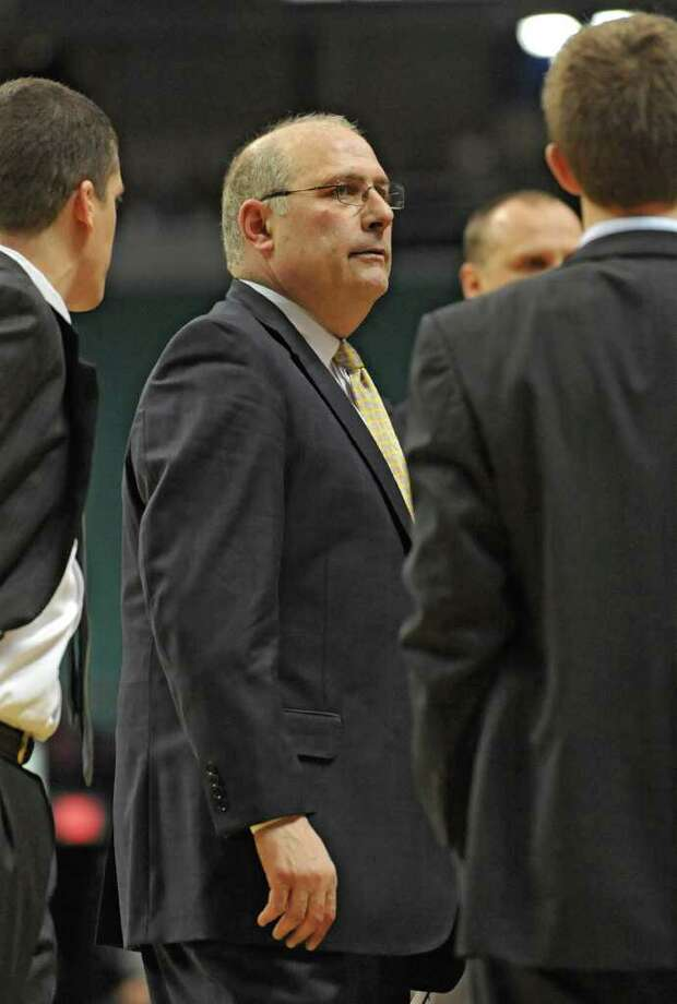 Siena Head Coach Mitch Buonaguro looks at the score board at a time out during a MAAC basketball game against Rider at the Times Union Center Thursday, Jan 12, 2012 in Albany, N.Y.  (Lori Van Buren / Times Union)l Photo: Lori Van Buren