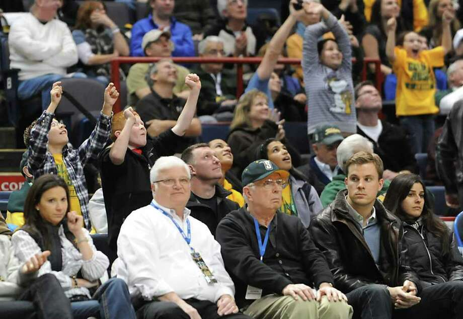 Young Siena fans try to get on the Fan Cam during a time out at a MAAC basketball game against Rider at the Times Union Center Thursday, Jan 12, 2012 in Albany, N.Y.  (Lori Van Buren / Times Union)l Photo: Lori Van Buren