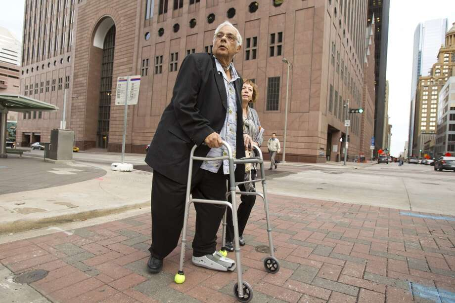 Harris County Precinct 1 Constable Jack Abercia leaves the Bob Casey Federal Courthouse downtown Thursday after pleading not guilty to corruption charges. Abercia, 78, has cancer and plans to resign Jan. 31.