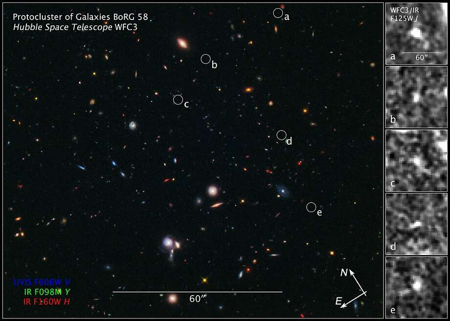 Protocluster of Galaxies   Courtesy of NASA, ESA, M. Trenti, Cambridge University and University of Colorado; L. Bradley (STScI), and the BoRG team