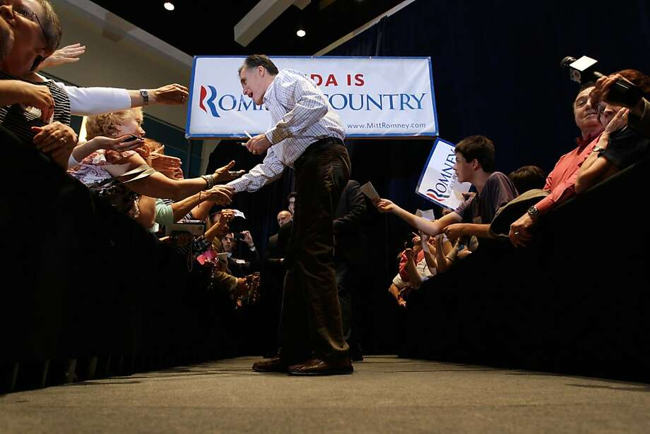WEST PALM BEACH, FL - JANUARY 12:  Republican presidential candidate, former Massachusetts Gov. Mitt Romney attends a campaign rally at the West Palm Beach Convention Center on January 12, 2012 in West Palm Beach, Florida. Romney was in West Palm Beach for the rally followed by a fundraiser and the campaign plans on returning to South Carolina to continue campaigning ahead of their primary on January 21st..  (Photo by Joe Raedle/Getty Images) Photo: Joe Raedle, Getty Images