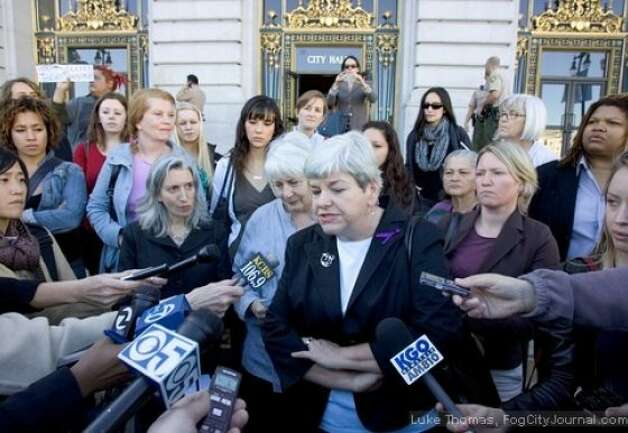 Eliana Lopez attended a press conference at San Francisco City Hall today Jan. 12, 2012, that called on her husband, Sheriff Ross Mirkarimi to step aside as he's investigated for allegations of spousal abuse. Photo: Luke Thomas, FogCityJournal.com