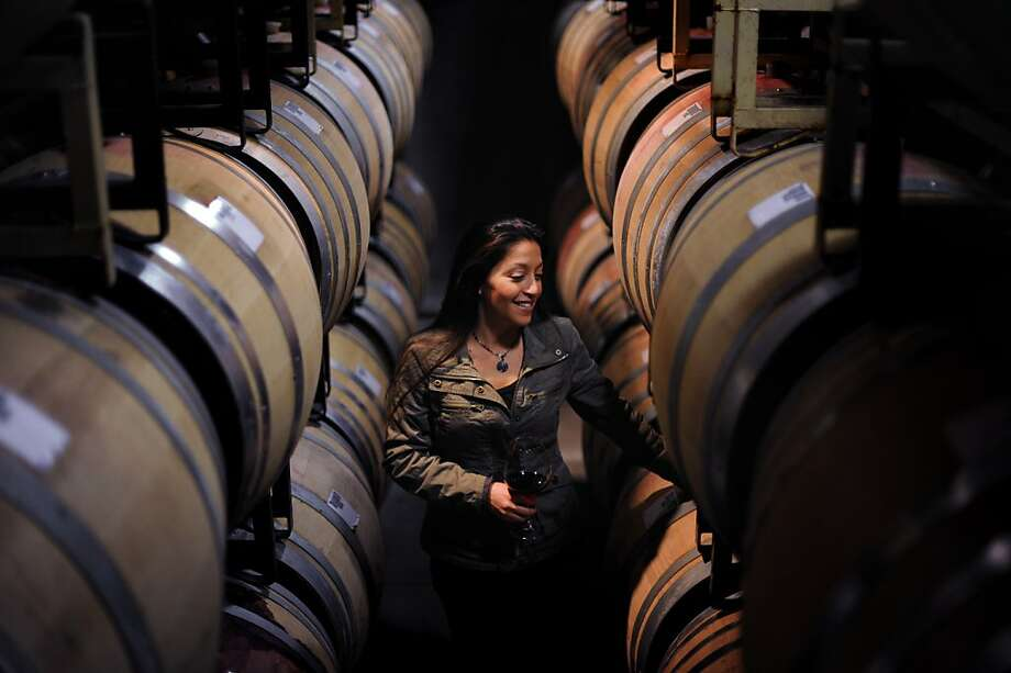 Winemaker Theresa Heredia in the barrel room at Freestone Vineyards in Freestone, California. December 12, 2011 Photo: Erik Castro, Special To The Chronicle