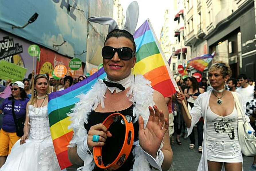 Turkish homosexuals march during the Gay Pride Parade march on Istiklal Avenue in Istanbul, on June