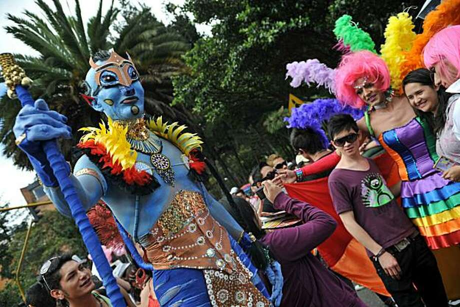Revellers take part in the annual Gay Pride Parade in Bogota on June 27, 2010. Photo: Guillermo Legaria, AFP/Getty Images