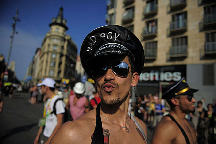 Participants take part in the gay pride parade, in Barcelona, Spain, Sunday, June 27, 2010. Photo: Manu Fernandez, AP