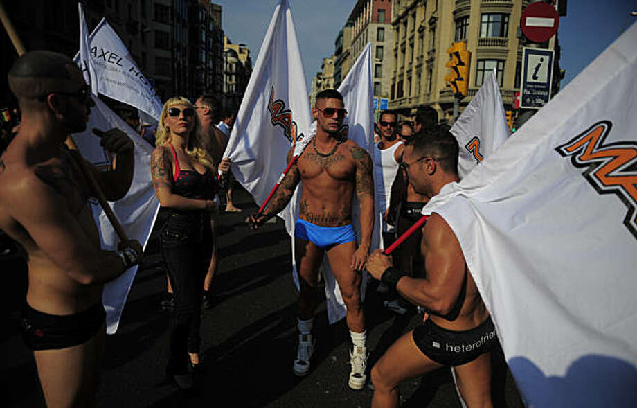Participants take part in the gay pride parade in Barcelona, Spain, Sunday, June 27, 2010. Photo: Manu Fernandez, AP