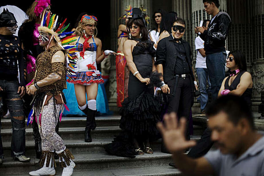 Transsexuals gather during the Gay Pride parade in Guatemala City, Saturday, June 26, 2010. Photo: Rodrigo Abd, AP