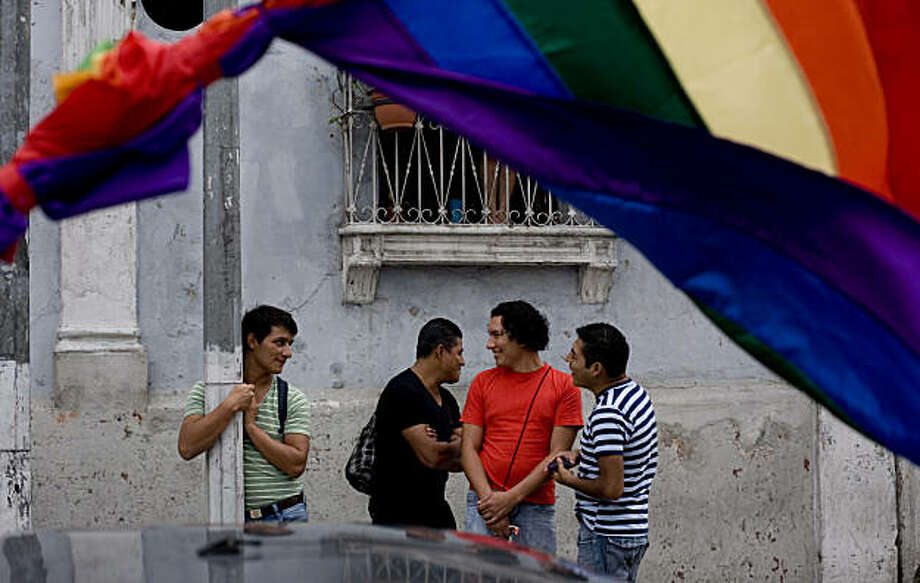 Gays gather during the Gay Pride parade in Guatemala City, Saturday, June 26, 2010. Photo: Moises Castillo, AP