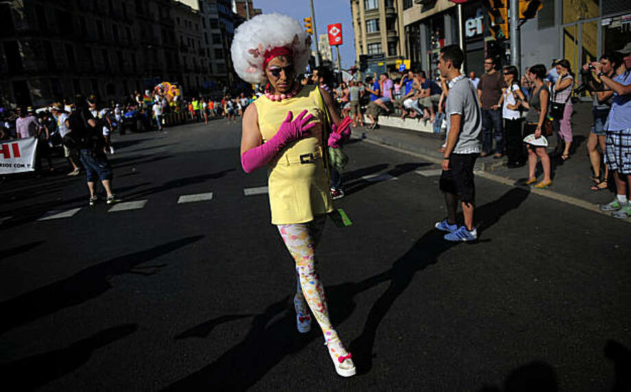 A participant takes part in the gay pride parade in Barcelona, Spain, Sunday, June 27, 2010. Photo: Manu Fernandez, AP
