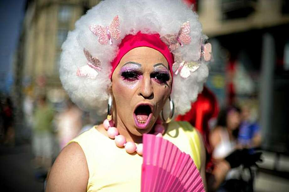 A participant rejoices at the gay and lesbian pride parade in the centre of Barcelona on June 27, 2010. Photo: Josep Lago, AFP/Getty Images