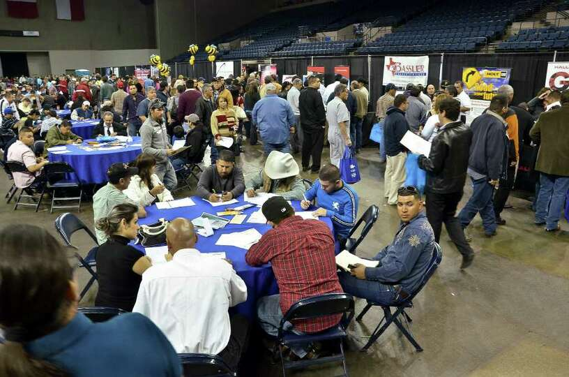 The Laredo Energy Arena was packed with job seekers at the Eagle Ford Shale Job Fair Friday.