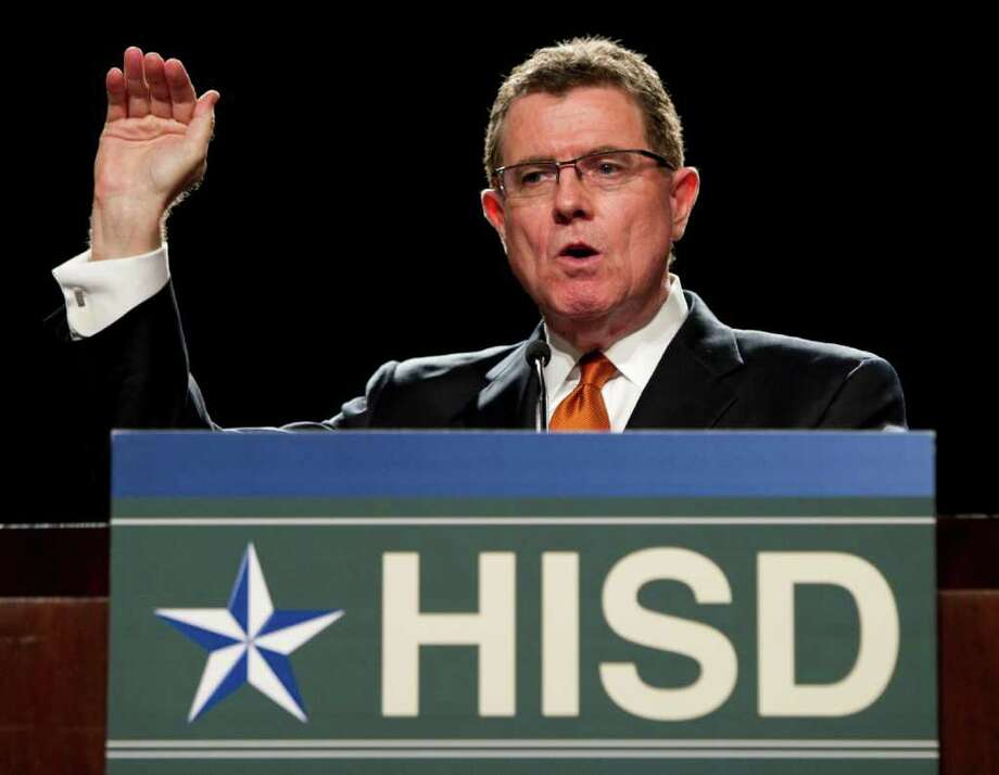 HISD Superintendent Terry Grier warned principals they won't like it when they start losing teachers from their schools. Photo: Brett Coomer / Houston Chronicle