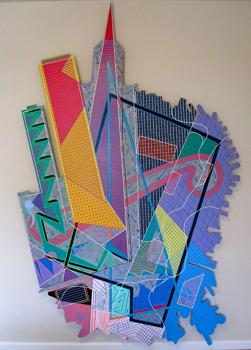 This pop-art painting of San Francisco from 1988 by Gregory Gioiosa is titled