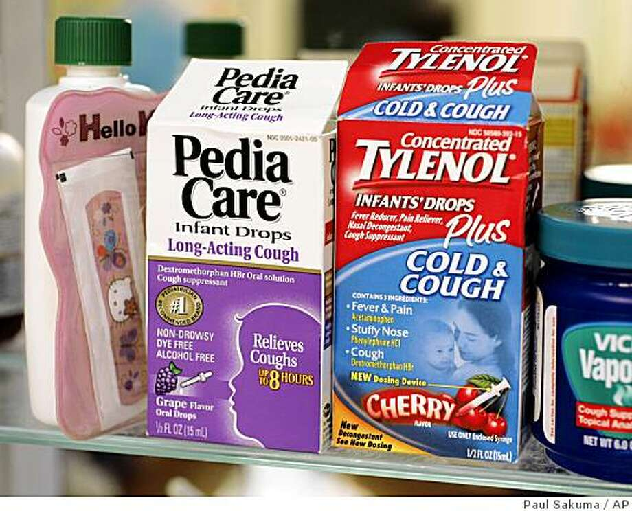 Concentrated Tylenol Infants' Drops Plus Cold & Cough, right, and Pedia Care Infant Drops Long-Acting Cough, left, is shown in a medicine cabinet of the home of Carol Uyeno in Palo Alto, Calif., Thursday, Oct. 11, 2007. Photo: Paul Sakuma, AP