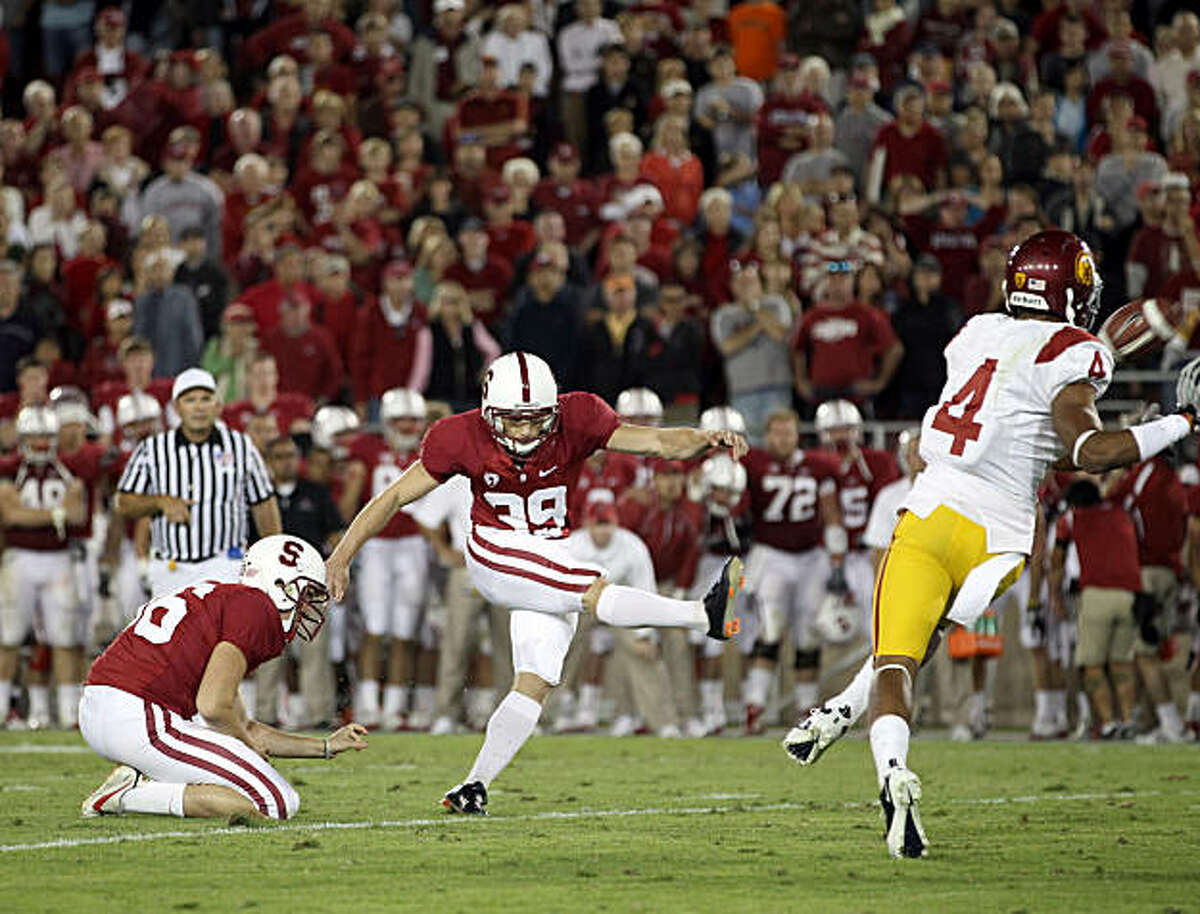 PALO ALTO, CA - OCTOBER 09: Nate Whitaker #39 of the Stanford Cardinal kicks a field goal to beat the USC Trojans 37-35 at Stanford Stadium on October 9, 2010 in Palo Alto, California. (Photo by Ezra Shaw/Getty Images)