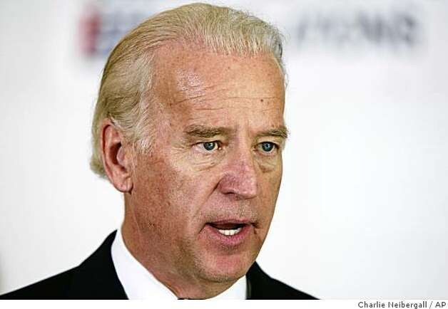 Democratic presidential hopeful Sen. Joe Biden, D-Del., speaks about his plans for Iraq during a joint campaign event with Republican presidential hopeful Sen. Sam Brownback, R-Kan., Friday, Oct. 12, 2007, in Des Moines, Iowa. The plan to create three states inside Iraq, along with a united federal capital in Baghdad was first proposed by Biden. 08c(AP Photo/Charlie Neibergall) Photo: Charlie Neibergall, AP