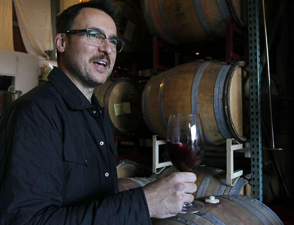 Winemaker Chris Brockway works at his Broc Cellars winery in Berkeley, Calif. on Thursday, Dec. 15, 2011.