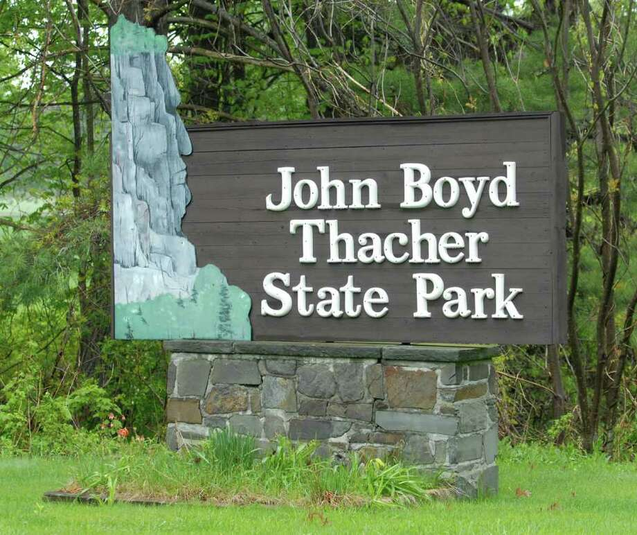 Sign by main parking lot near the park office in Thacher State Park in Voorheesville, NY on May 12, 2010. For furlough story about the park being locked up starting Monday. (Lori Van Buren / Times Union) Photo: LORI VAN BUREN / 00008714A