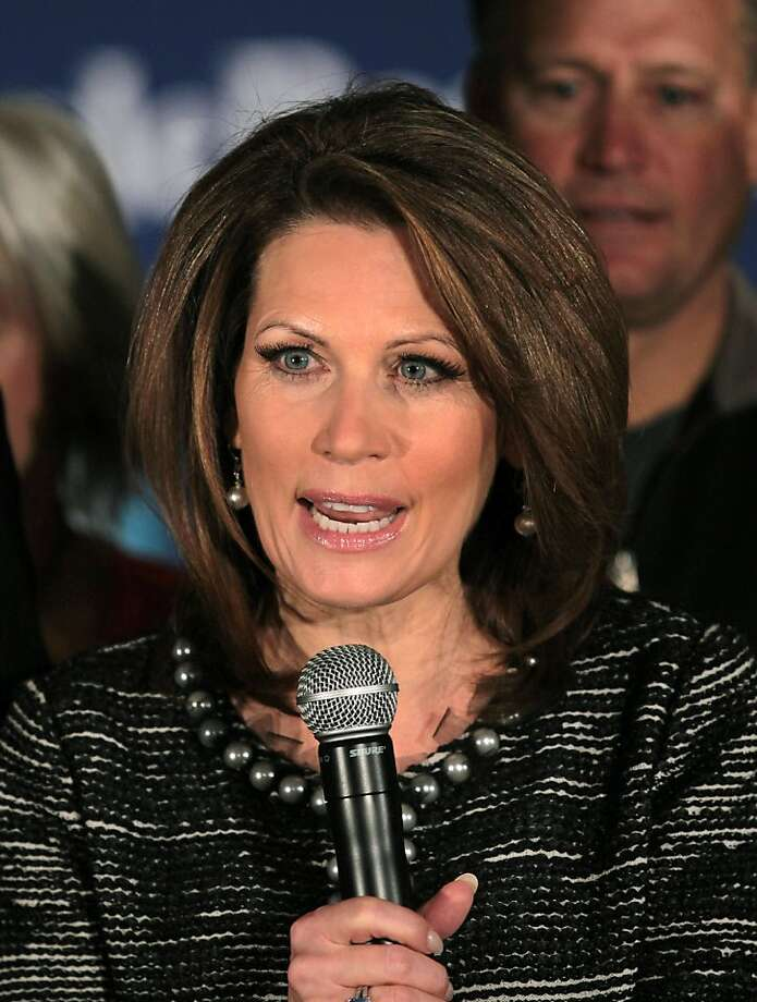 WEST DES MOINES, IA - JANUARY 04: U.S. Rep. Michele Bachmann (R-MN) speaks during a news conference after ending her campaign for Republican presidential candidate on January 4, 2012 in West Des Moines, Iowa.Bachmann finished sixth in the Iowa caucus, well behind first and second place finishers Mitt Romney and Rick Santorum. (Photo by Scott Olson/Getty Images) Photo: Scott Olson, Getty Images