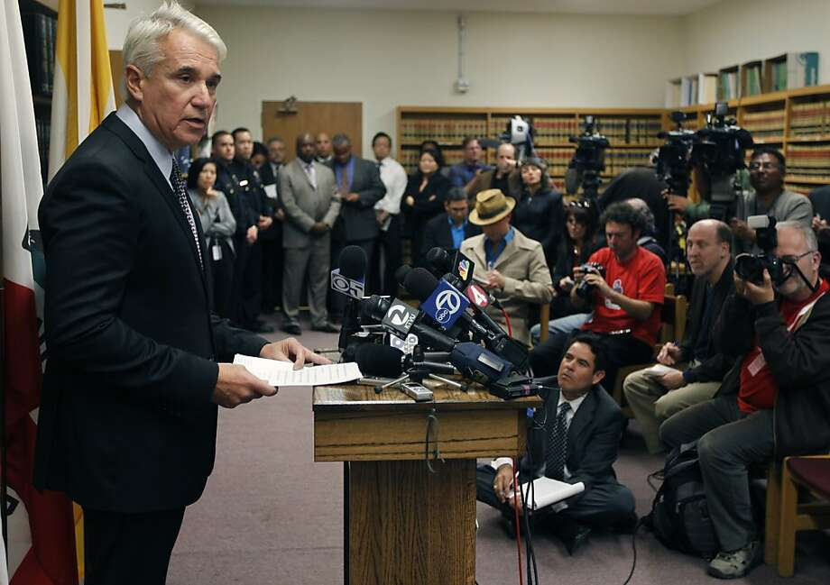 District Attorney George Gascon details three misdemeanor charges filed against Sheriff Ross Mirkarimi in San Francisco, Calif. on Friday, Jan. 13, 2012, following an alleged domestic violence incident at Mirkarimi's home on New Years Eve. Photo: Paul Chinn, The Chronicle