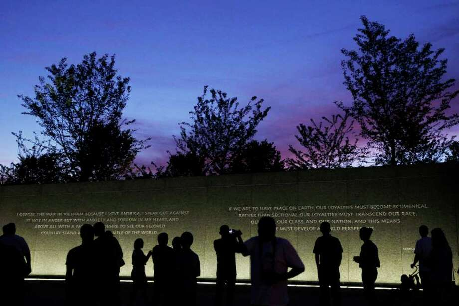 The accuracy of a quote carved in stone on the new Martin Luther King memorial created a furor. Photo: Charles Dharapak / AP2011