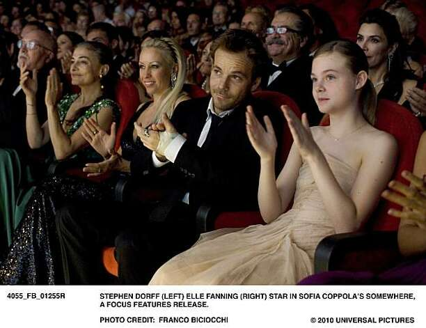 FB1255R ÐStephen Dorff (left) Elle Fanning (right) star in Sofia CoppolaÕs SOMEWHERE, a Focus Features release. Photo: Franco Biciocchi, Focus Features