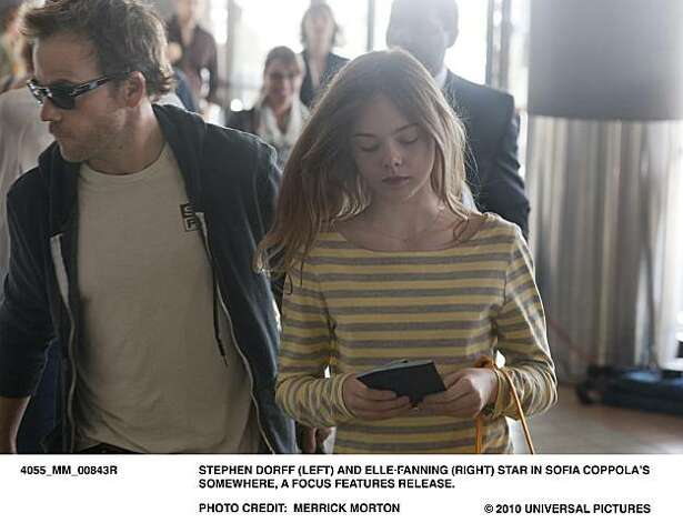 MM843R Ð Stephen Dorff (left) and Elle Fanning (right) star in Sofia CoppolaÕs SOMEWHERE, a Focus Features release. Photo: Merrick Morton, Focus Features