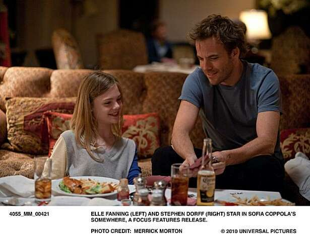 MM421 Ð Elle Fanning (left) and Stephen Dorff (right) star in Sofia CoppolaÕs SOMEWHERE, a Focus Features release. Photo: Merrick Morton, Focus Features