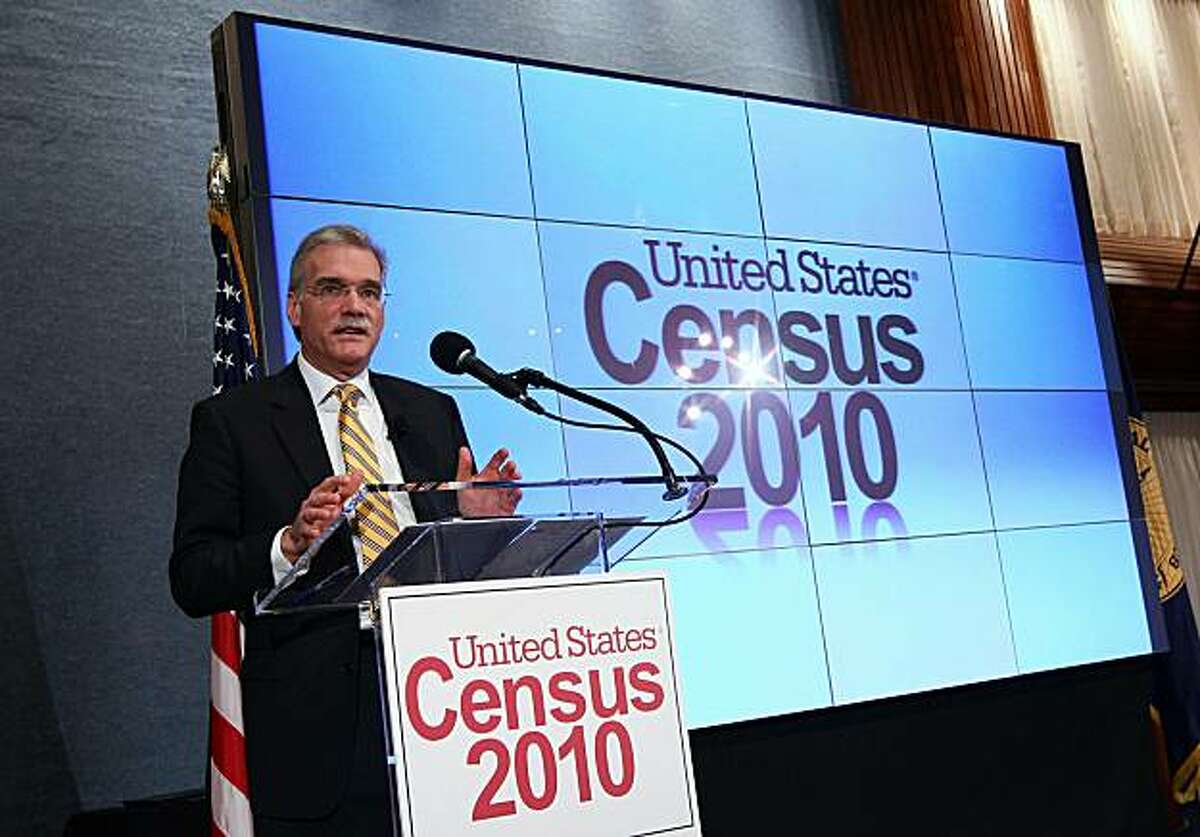 WASHINGTON, DC - DECEMBER 21: Robert Groves, Director of the U.S. Census Bureau, releases the first results of the 2010 Census during a press conference December 21, 2010 in Washington, DC. The population of the United States was listed at 308,745,538, which calculated to a 9.7% increase, the slowest rate of growth since the Great Depression.