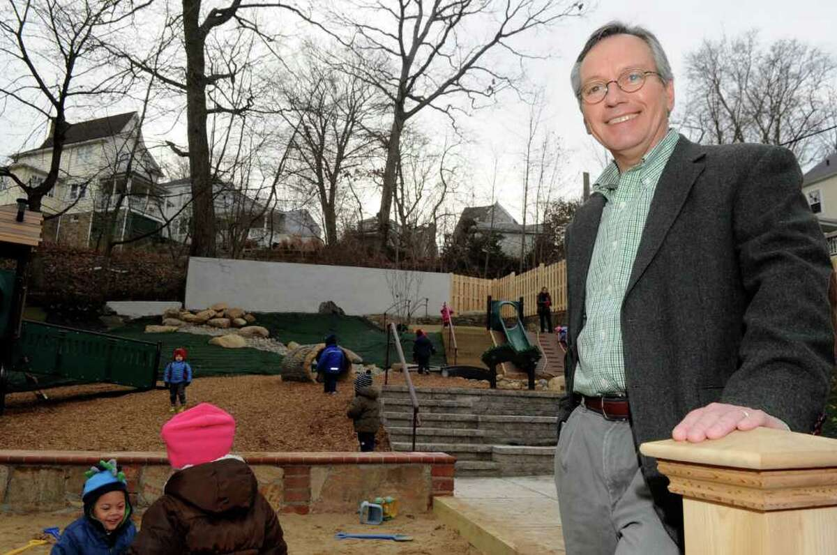 Famiy Centers President and CEO Bob Arnold stands on the playground at the nonprofit's Arch Street headquarters in Greenwich Wednesday, Jan. 11, 2012. Arnold is marking his 30th year working with the organization, which offers education and human services to children, adults and families in Fairfield County.