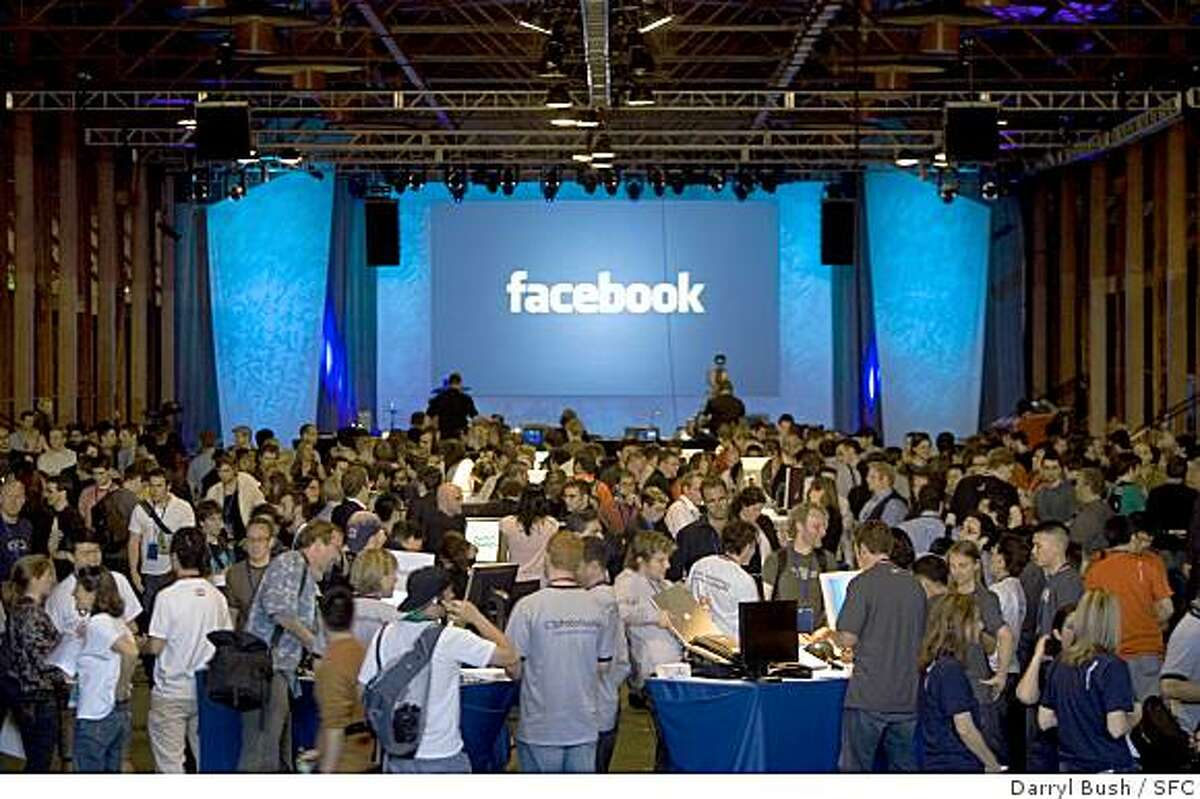 """A large crowd attends the """"Facebook Platform Launch 2007"""" at The Concourse at the San Francisco Design Center in San Francisco, CA, on Thursday, May, 24, 2007. photo taken: 5/24/07Darryl Bush / The Chronicle A large crowd attends the """"Facebook Platform Launch 2007"""" at The Concourse at the San Francisco Design Center in San Francisco, CA, on Thursday, May, 24, 2007. photo taken: 5/24/07Darryl Bush / The Chronicle"""