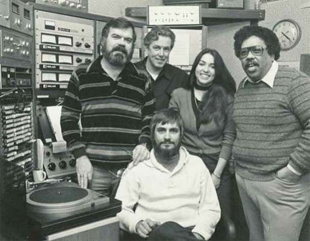 KJAZ DJS (from left) Jerry Dean, Stan Dun Audrey Wells, Bob Parlocha and (in front) Dick Conte. Photo: Kjaz