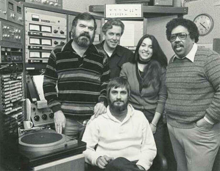 KJAZ DJS (from left) Jerry Dean, Stan Dun Audrey Wells, Bob Parlocha and (in front) Dick Conte. Photo: Kjaz