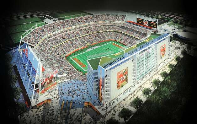 A rendering of the 49ers stadium design lines a wall at the team's New Stadium Preview Center in Santa Clara, Calif., on Tuesday, Sept. 27, 2011. Photo: Noah Berger, Special To The Chronicle