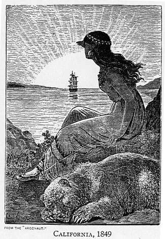 """A pen and ink drawing representing the unknown artist's impression of a Huchiun Ohlone woman witnessing the arrival through the golden gate of the Spanish in 1769 or adventurers during the gold rush of 1848. Some of her jewelry is authentic and some of her clothing is not. What is certain is she represents a Native woman whose home is opposite the Golden Gate in what we know of as Berkeley. It was a completely different world before the arrival of the Spanish. A careful inspection of the woman's protector shows that the grizzly bear has one eye open staring at the reader, always alert.  From the book """"Eccentrics, Heroes, and Cutthroats"""" by Richard Schwartz. Photo: Courtesy Richard Schwartz"""