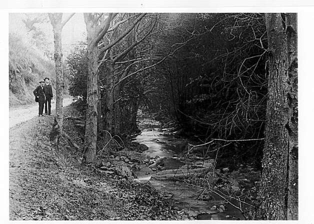 """Two men stand by the old Telegraph Road up Telegraph Canyon (now called Claremont Canyon) with the creek shouldering the dirt road.  There are thrilling accounts of rides down the narrow canyon, too steep for safe travel, but the only way east to west between Alameda and Contra Costa Counties in that area in the early days. One account tells of the wagon tipping on two wheels as it sped out of control down the canyon in a wagon. In those days a wooden stick applied to the wheel rim was the only braking system. The big fear was if one met a wagon ascending the canyon, one could easily wind up crashed into the creek bed.  From the book """"Eccentrics, Heroes, and Cutthroats"""" by Richard Schwartz. Photo: Courtesy Richard Schwartz"""