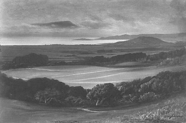 """An incredible painting conceiving the spirit of what the area of the future UC Berkeley campus must have felt and looked like by R. D. Yelland. The painting seems to capture Samuel Hopkins Willey's spiritual sense and vision of this place. He helped procure this land for the dream of a college and dedicated his life to education. From the book """"Eccentrics, Heroes, and Cutthroats"""" by Richard Schwartz. Photo: Courtesy Richard Schwartz"""