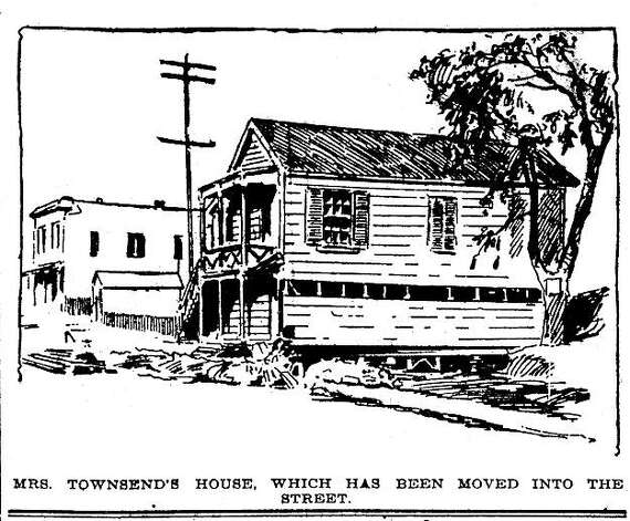 """San Francisco Chronicle, November 7, 1896. Mary Townsend made Bay Area news when she hired a house mover to move her little wooden cottage to its pre-railroad location, which was right on top of the tracks of the Central Pacific Railroad. He epic battle interested everyone and the cleaning woman became a well-known figure because of this struggle.  From the book """"Eccentrics, Heroes, and Cutthroats"""" by Richard Schwartz. Photo: Courtesy Richard Schwartz"""