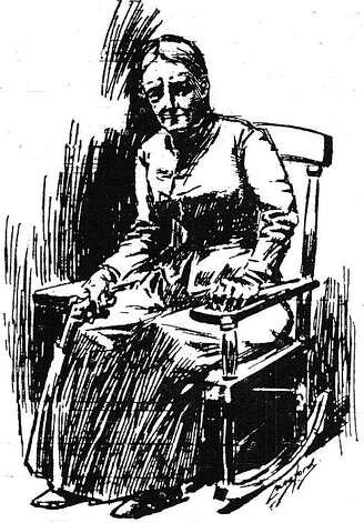 """San Francisco Call, November 11, 1896. On this day, Mary Townsend had known of the city's intentions to move her house without her permission. She stayed up all night in her rocking chair on guard. Close examination shows the old woman held her revolver and made it clear she would shoot anyone who attempted to trespass on her property. The Bay Area newspapers loved the drama of the old woman who took on the city and railroad and followed the caper until its conclusion, including pen and inks like this one to illustrate the story for their readers.  From the book """"Eccentrics, Heroes, and Cutthroats"""" by Richard Schwartz. Photo: Courtesy Richard Schwartz"""