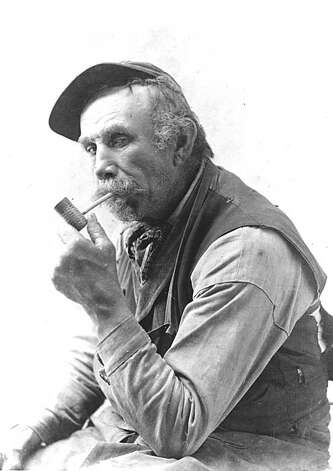 """The classic pose of John Boyd for the cover of his book, """"A Berkeley Heroine,"""" published in 1900. At this time Mark Twain was the sensation of the writing world and it is likely John Boyd is emulating a Huck Finn-style character. Note his left eye is drooped.  This is from an injury suffered from a fall into Strawberry Creek after a drinking bout. John was Berkeley's working-class hero. He was a character in early Berkeley and one of the town pioneers. He held many jobs, but his longest one was as an express man. This job involved picking up people or baggage from the rail stations and transporting them around town. It could also involve taking couples to a dance hall at night. The job had Boyd all over town in every kind of weather. The grizzled Civil War veteran knew everyone and they knew him and his antics. He had a hard life, losing children and having an alcoholic wife. Boyd learned to transpose his grief into amazing and witty letters to the editor in the local paper. From the book """"Eccentrics, Heroes, and Cutthroats"""" by Richard Schwartz. Photo: Courtesy Richard Schwartz"""