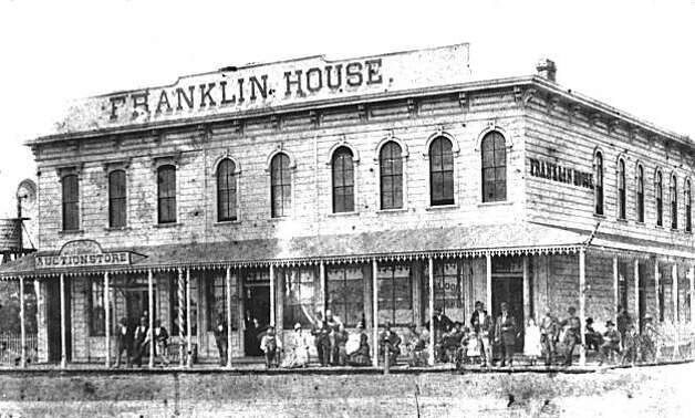 "A photograph of the Franklin House at Third Street and University Avenue, in Berkeley, near the Brennan Livery Stables. This old hotel advertised in the local paper that Emperor Norton would stay there with his entourage when he came to Berkeley in the 1870s. To advertise such a claim about one's business always increased business in the Bay Area. To mention Emperor Norton frequented ones establishment increased patronage, people hoping to glimpse the popular eccentric. From the book ""Eccentrics, Heroes, and Cutthroats"" by Richard Schwartz. Photo: Courtesy Richard Schwartz"