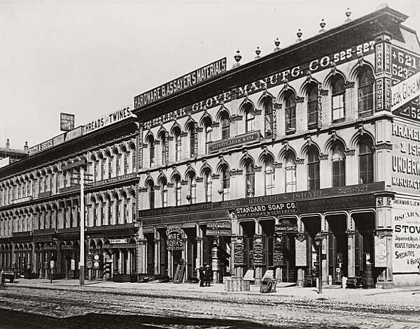 "Richard Park Thomas' Standard Soap Works' San Francisco office and show room, circa 1890. It was located at 525 Market Street, on the west side of Market, between First and Second Streets. Richard Parks Thomas had a painting of the Berkeley factory hanging in his San Francisco office.  His company, after buying ten other soap companies in the city, was the largest soap manufacturer west of the Mississippi. They made over 300 kinds of soap. From the book ""Eccentrics, Heroes, and Cutthroats"" by Richard Schwartz. Photo: Courtesy Richard Schwartz"
