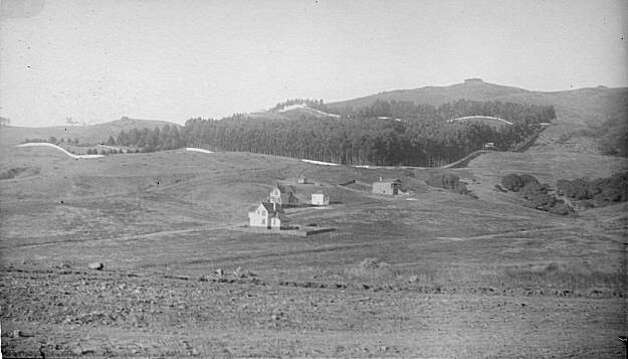 """A view of the Berkeley Hills, looking east onto Richard Park Thomas' La Loma Ranch property. This photo shows that Thomas installed a painted fence around the entire perimeter of his property. One can see Fort La Loma just to the right of the wooded peak in the middle of the photograph, dating this photo as 1883 or later. Thomas built the fort himself as his Civil War experience was blazed into his soul and he thought about it all the time, as did most Civil War veterans. Maybe he was working out his demons by its construction. He installed Civil War howitzers in the fort and fired them on holidays such as the Fourth of July, when he would throw huge parties. From the book """"Eccentrics, Heroes, and Cutthroats"""" by Richard Schwartz. Photo: Courtesy Richard Schwartz"""
