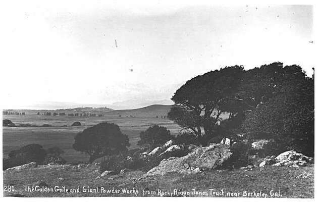 "This was the view seen from somewhere in the vicinity of what is now The Alameda and Hopkins Street. It reveals the open ranchland and the tree-lined course of Codornices Creek. Fleming Point and Albany Hill are displayed by the bayside. The dynamite and chemical works and their smokestacks and buildings are revealed there. The caption of the ""Jones Tract"" indicates that this was the period of time circa 1879 (the founding of the powder works at Fleming Point) to 1892 (when the factory was relocated). Capt. Boswell leased the land from 1878 to about 1893. From the book ""Eccentrics, Heroes, and Cutthroats"" by Richard Schwartz. Photo: Courtesy Richard Schwartz"