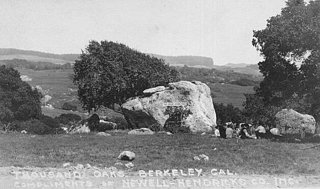 """This image looks southeast from what is now Stone Face Park at Thousand Oaks Boulevard and San Fernando Avenue. Note the group of picnickers to right of the Stone Face Rock.  This was one of the favorite places early Berkeleyans picnicked. When a 1908 bond measure to preserve the entire area as a natural park failed, the area was developed as a high-end residential neighborhood. It came within 194 votes of becoming Berkeley's version of Golden Gate Park. No one expected the bond measure to lose and its defeat came as a shock to the community, including UC Berkeley's President Wheeler. From the book """"Eccentrics, Heroes, and Cutthroats"""" by Richard Schwartz. Photo: Courtesy Richard Schwartz"""