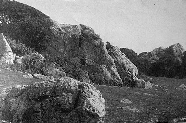 """The boulders used in a display to woo voters to vote for the bond measure for a park in the Thousand Oaks area.  The measure would have left 98 acres in its natural state and was already an area where the townsfolk went to be within nature and picnic.  From the book """"Eccentrics, Heroes, and Cutthroats"""" by Richard Schwartz. Photo: Courtesy Richard Schwartz"""